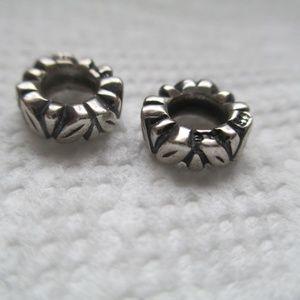 set of 2 Pandora Sterling Silver Leaf Spacer Bead